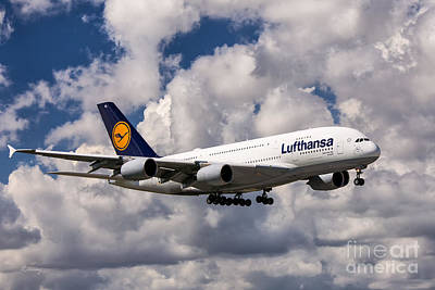Lufthansa A380 Hamburg Poster by Rene Triay Photography