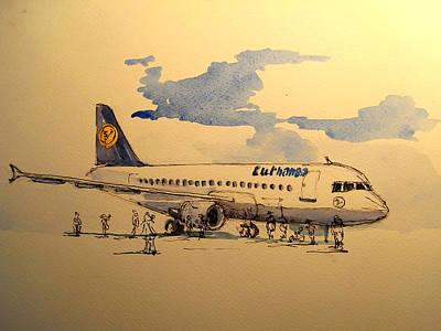 Lufthansa Plane Poster by Juan  Bosco