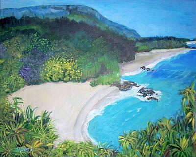 Lumahai Beach In Hawaii Poster by Teresa Dominici