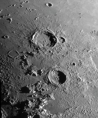 Lunar Craters Aristoteles And Eudoxus Poster by Damian Peach