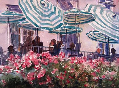 Lunch Under Umbrellas Poster by Kris Parins