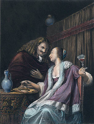 Lunch With Oysters And Wine, Dutch, Woman, Man, Oyster Poster by Van Mieris, Frans (1635-1681), Dutch