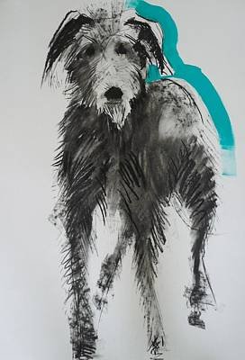 Lurcher, 2012 Charcoal And Oil On Paper Poster by Sally Muir