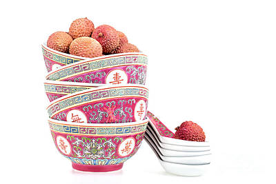 Lychees In Bowls With Spoons Poster by Jane Rix