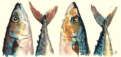 Mackerel Fishes Poster by Juan  Bosco