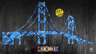 Mackinac Bridge Michigan License Plate Art Poster by Design Turnpike