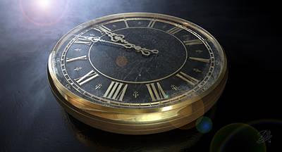 Macro Antique Watch Midnight Poster by Allan Swart