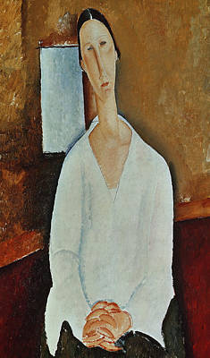 Madame Zborowska With Clasped Hands Poster by Amedeo Modigliani