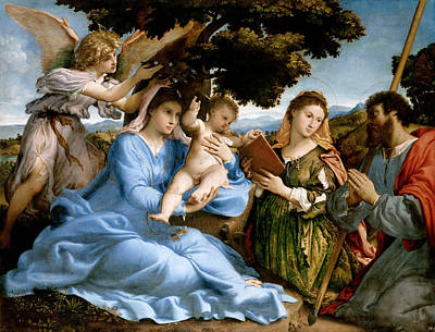 Madonna And Child With Saints Catherine And Thomas Poster by Lorenzo Lotto