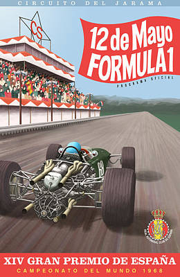 Madrid Grand Prix 1968 Poster by Georgia Fowler