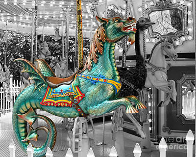 Magical Carousel Seahorse Poster by Sabrina L Ryan