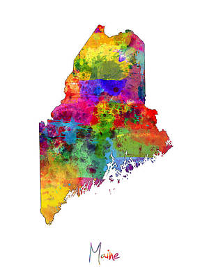 Maine Map Poster by Michael Tompsett