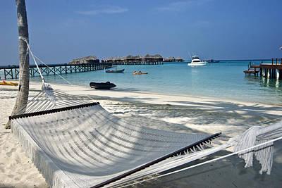 Maldivian Landscape With Hammock Poster by Marco Battaglia