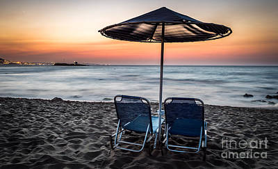 Malia Beach After Sunset Poster by Androklis Nerantzoulis