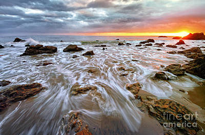 Malibu Beach Sunset Poster by Charline Xia