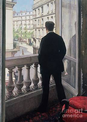 Man At The Window Poster by Gustave Caillebotte