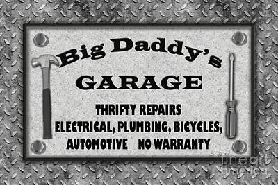 Man Cave-big Daddy's Garage  Poster by Jean Plout
