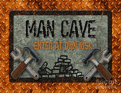 Man Cave-enter At Own Risk Poster by Jean Plout
