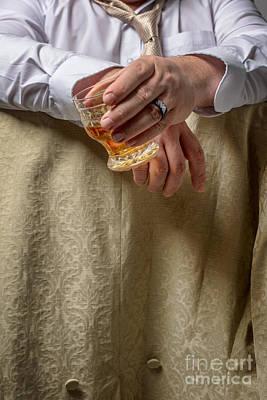 Man Drinking Spirits Poster by Amanda Elwell
