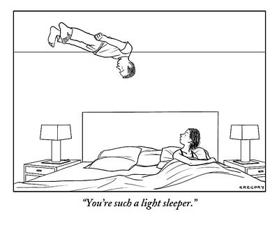 Man Floats Above His Wife In Bed Poster by Alex Gregory