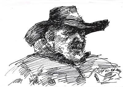 Man In A Cowboy Hat Poster by Ylli Haruni