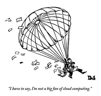 Man Parachuting While Working On His Laptop Poster by Drew Dernavich