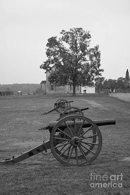 Manassas Battlefield Cannon And House Poster by Christiane Schulze Art And Photography