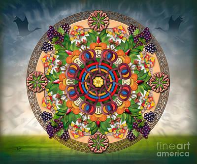 Mandala Armenian Grapes - Sp Poster by Bedros Awak