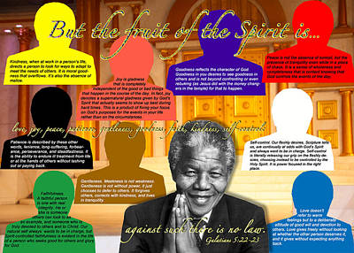 Mandela's Rainbow With Scripture Poster by Terry Wallace