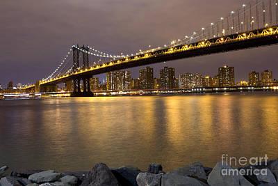 Manhattan Bridge Lights  Poster by Leslie Leda