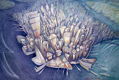 Manhattan From Above, 1994 Oil On Canvas Poster by Charlotte Johnson Wahl