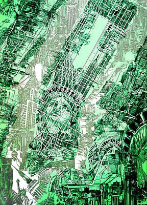 Manhattan Map Antique 2 Poster by Bekim Art