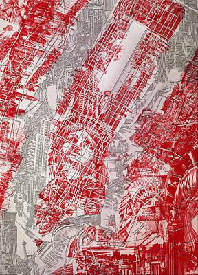 Manhattan Map Antique 3 Poster by Bekim Art