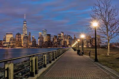 Manhattan Skyline At Twilight, Liberty Poster by F. M. Kearney