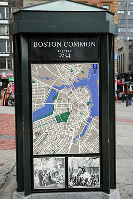 Map And Historical Drawings On A Kiosk Poster by Susan Pease