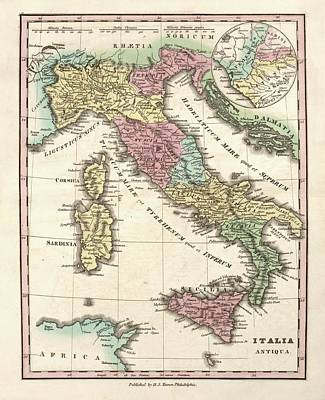 Map Of Ancient Italy Poster by Library Of Congress, Geography And Map Division