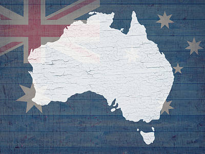 Map Of Australia In White Old Paint On Australian Flag Barn Wood Poster by Design Turnpike