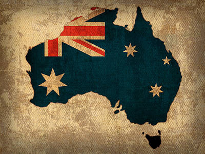 Map Of Australia With Flag Art On Distressed Worn Canvas Poster by Design Turnpike