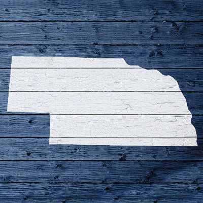 Map Of Nebraska State Outline White Distressed Paint On Reclaimed Wood Planks Poster by Design Turnpike