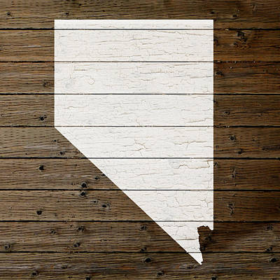 Map Of Nevada State Outline White Distressed Paint On Reclaimed Wood Planks Poster by Design Turnpike