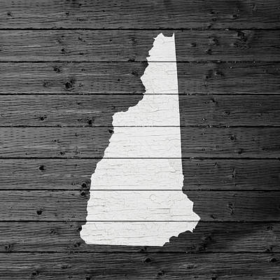 Map Of New Hampshire State Outline White Distressed Paint On Reclaimed Wood Planks Poster by Design Turnpike