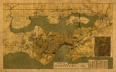Map Of Seattle Washington Vintage Old Street Cartography On Worn Distressed Parchment Poster by Design Turnpike