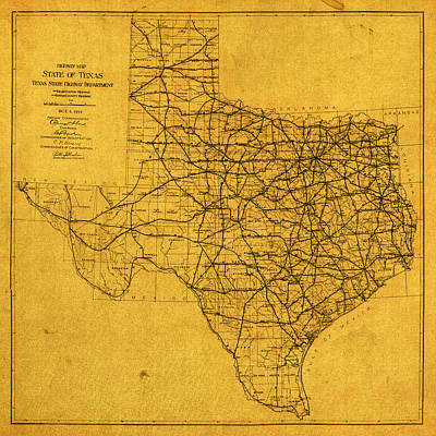 Map Of Texas Highways Vintage 1919 On Worn Distressed Canvas Poster by Design Turnpike