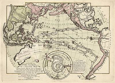 Map Of The Pacific Ocean Poster by Library Of Congress, Geography And Map Division