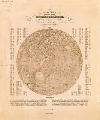 Map Of The Visible Side Of The Moon Poster by American Philosophical Society