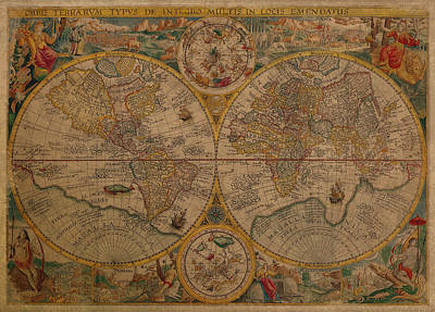 Map Of The World 1599 Vintage Ancient Map On Worn Parchment Poster by Design Turnpike