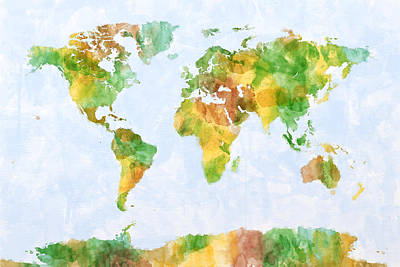 Map Of The World Watercolour Poster by Michael Tompsett