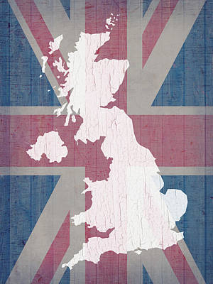 Map Of United Kingdom And Union Jack Flag On Barn Wood Poster by Design Turnpike