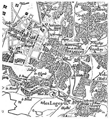 Map Of Versailles, 1750s Poster by Granger