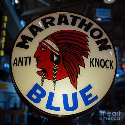 Marathon Blue Vintage Gas Pump Poster by Edward Fielding